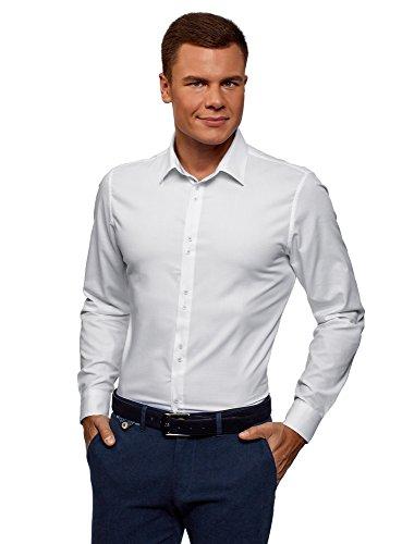Oodji ultra uomo camicia basic in tessuto strutturato, bianco, 42cm / it 50 / eu 42 / l