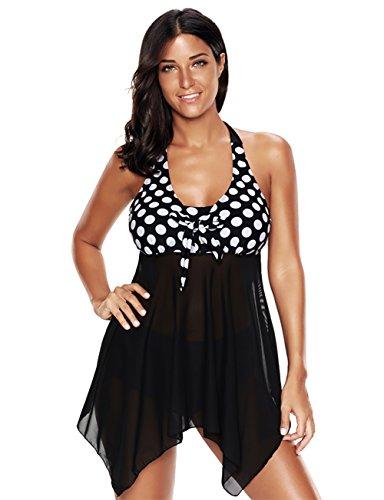 KamiraCoco Damen Paisley Muster Große Größe Bunt Badeanzüge Figurformender Badekleid mit Röckchen Einteiler Badeshorts (XXXXL (EUR 46-48), Schwarz und Weiß) - Gefüttert Paisley Rock