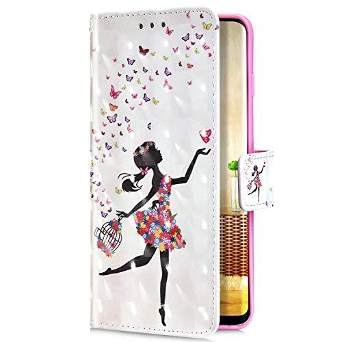 Uposao Kompatibel mit Samsung Galaxy S10 Handyhülle Glitzer Bling 3D Bunt Muster Leder Hülle Flip Schutzhülle Brieftasche Wallet Bookstyle Tasche Case Magnet Kartenfach,Fee Schmetterling