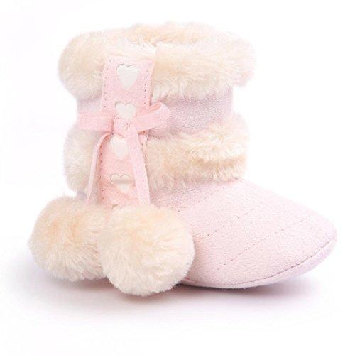 Clode® Kleinkind Baby Mädchen Warm Halten Niedlich Bogen Schneestiefel Weiche Sohlen Krippe Schuhe Stiefel Winterstiefel (11/0 ~ 6 Monate, Rosa) (Rosa Mädchen Stiefel)