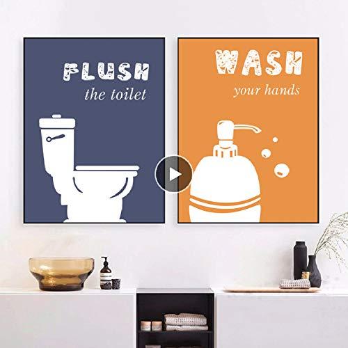 XWArtpic Cartoon Bunte Handtuch Shampoo Wc Zitate Wandkunst Leinwand Malerei Nordic Poster Und Drucke Wandbilder Für Badezimmer Dekor G 40 * 50 cm - Abba Shampoo