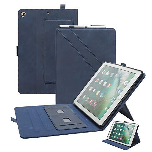 Leder-Schutzhülle für iPad Air 2, iPad 9,7 Hülle Smart mit Stifthalter, mehrere Winkel, magnetisch, Buch-Cover, Kartenschlitze, Ständer für Apple iPad Pro 9.7 5th 2017 6. Generation 2018, blau Vintage Folding Camera