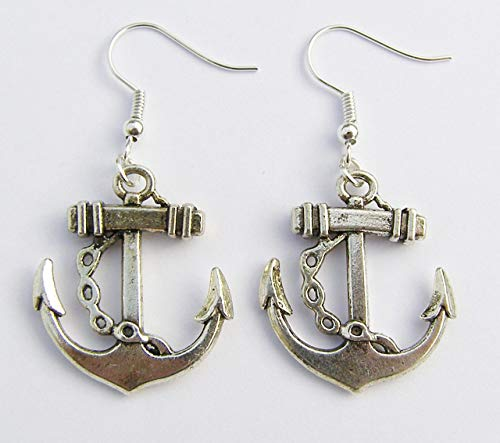 Cornwall Art Prints Anchor Earrings, Silver Hooks, 3cm Drop Hand Made -