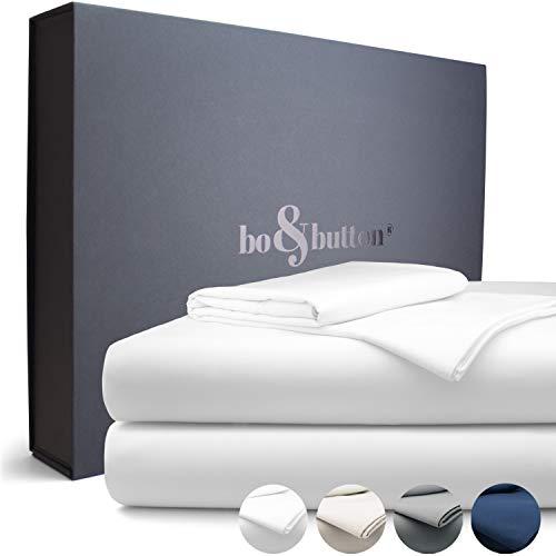 bo&button® Echte Luxusbettwäsche zum besten Preis | Atemberaubend weiche Satin Bettwäsche aus feinster Bio Baumwolle | Set 2 teilig 135 x 200 + 80 x 80 cm, Farbe White/Weiß -