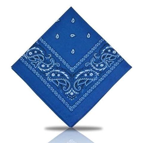 [UK SELLER] BANDANA HEAD SCARF SCARVES PAISLEY MANY COLOURS 100% COTTON (Royal Blue)