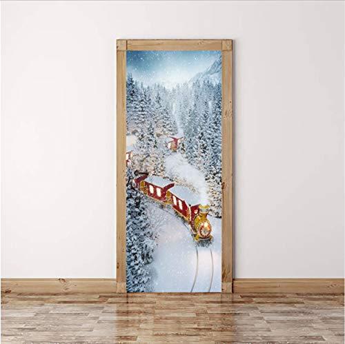 Amerikanische Ansicht Tür (Svsnm 77X200Cm / 90X200Cm Kreative 3D-Ansicht Tür Aufkleber Weihnachten Abziehbilder Selbstklebende Tapete Auf Tür Wasserdichte Wandgemälde Für Schlafzimmer)