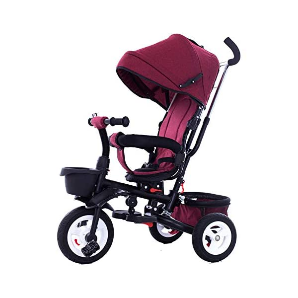 4 In 1 Childrens Folding Tricycle 360° Swivelling Saddle Blockable Rear Wheels Childrens Tricycles Detachable And Adjustable Push Handle 6 Months To 6 Years Child Trike Maximum Weight 25 Kg,Red BGHKFF ★ 4 in 1 multi-function: can be converted into a stroller and a tricycle. Remove the backrest and awning as a tricycle. ★Material: High carbon steel frame, quiet, shockproof, suitable for children from 6 months to 6 years old, maximum weight: 25 kg ★ Tricycle foldable, space saving, easy to carry, seat can be rotated 360°, is the best travel companion, 2-point seat belt, front wheel clutch, rear wheel brake, footrest can be folded 1
