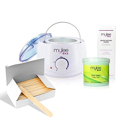 Mylee White Thermostatic Control Wax Heater & Mylee 450g Tee Tree Creme Wax Kit NEW