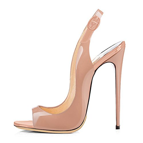 Onlymaker Sandalen High Heels Slingback Stiletto Peep Toe Party Pumps Nude1 EU43