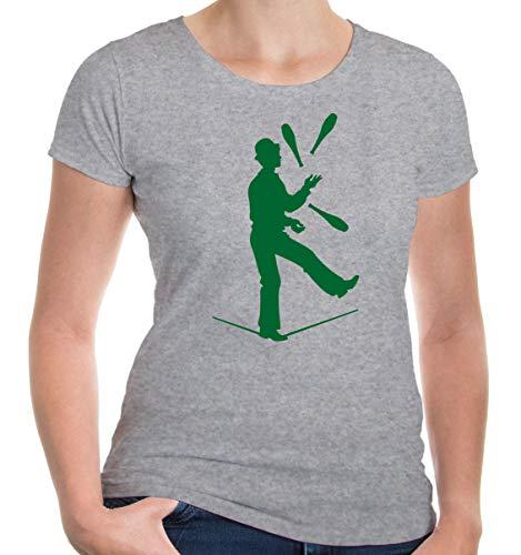 Kostüm Jongleur - Girlie T-Shirt Zirkusjongleur-XXL-Heathergrey-Bottlegreen