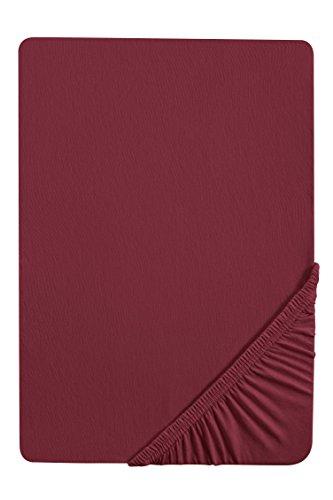 biberna 77144 Jersey-Stretch Spannbetttuch, nach Öko-Tex Standard 100, ca. 180 x 200 cm bis 200 x 200 cm, burgund