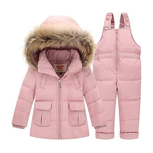 Baby Bekleidungsset Kinder Set Daunenjacke Bekleidungsset Baby Kinder Junge Mädchen Verdickte Winterjacke + Winterhose Kleinkind Daunenhose Mantel (Pink, Höhe 90-95cm(Etikett 90))