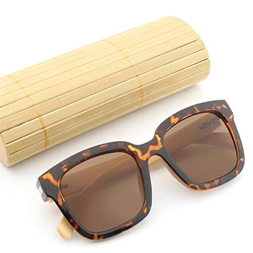 GAOHAITAO Bamboo Oversize Sunglasses for Women and Men Mirrored Lens Leopard Square Shades Uv400,Leopard with case