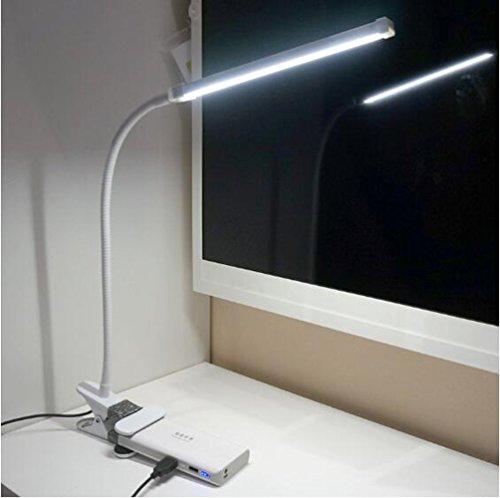 Eplze Simple Soin des Yeux Lampe de Bureau LED Dimmable 3 Niveaux de Luminosité avec Interrupteur Clip On Livre de Lecture de Lumière Plug and Play (blanc)