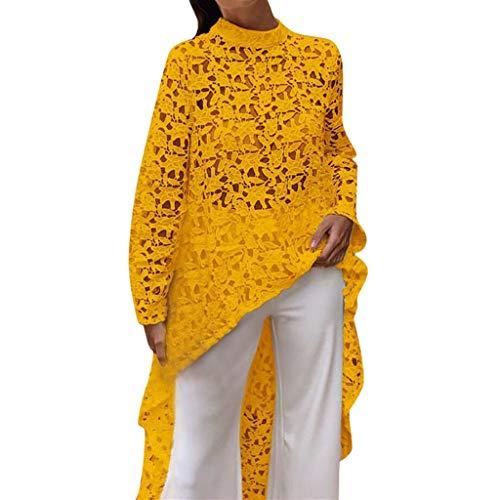 Damen Lace Casual Tops Aushöhlen Langarm Bluse Tshirts O-Neck Blusentops Freizeit Fransen Long Shirts Damen Herbst Vorne Kurz Hinten Lang Unregelmäßige Saum Bluse Tops -