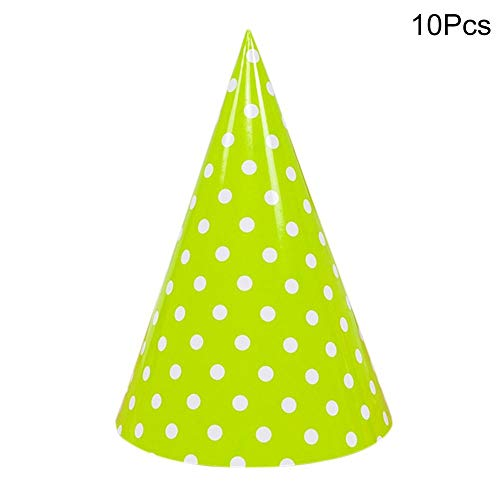 Party Hats - 10pcs Cute Dot Birthday Party Decoration Hats Baby Shower Cake Caps Photo Props Children Holiday - Dogs Primary Boys Makers Kids Color Yellow Sesame Toss Minnie Elastic White Swimmin