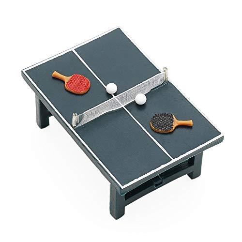 Odoria 1/24 Miniatur Tisch + 2 Schläger + 2 Bälle Tischtennis-Set Puppenhaus Dekoration Zubehör