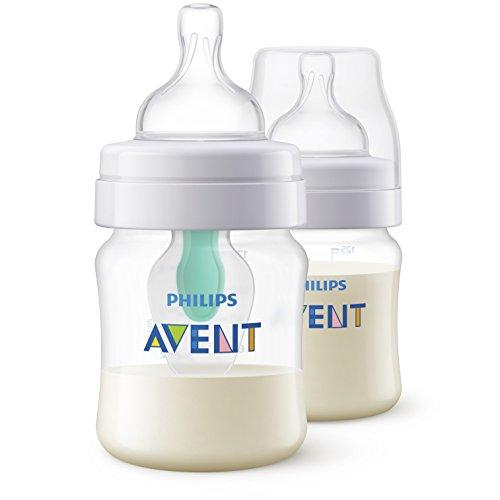 Philips Avent Anti-colic Flasche mit AirFree Ventil SCF810/24, 125ml, 2er-Pack, transparent - Kolik Anti Babyflaschen