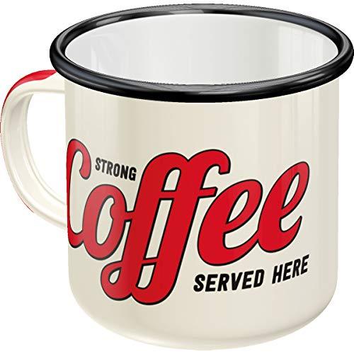 Nostalgic-Art 43203 Strong Coffee Served Here   Retro Emaille-Becher   Vintage Geschenk-Tasse   Outdoor Geschirr