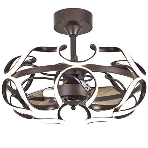 Ceiling Fan Light JY- Dimmbarer LED-Kronleuchter mit unsichtbaren Lamellen und Fernbedienung, Deckenlüfter, geräuschlosem Motor, Umkehrfunktion für das Restaurant im Wohnzimmer und Schlafzimmer -