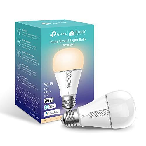 TP-Link KL110 Lampadina Wi-Fi E27, 10 W, Funziona con Amazon Alexa e Google Home, 800 lumen, Bianco Dimmerabile dall\' 1{9059f423e5f8ca2c3e0f64f8474cffdd92ef56c3fafbe4a2489fe7698803f9bc} al 100{9059f423e5f8ca2c3e0f64f8474cffdd92ef56c3fafbe4a2489fe7698803f9bc}, Controllo da remoto