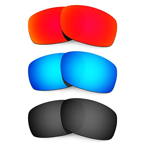 HKUCO Mens Replacement Lenses For Oakley Fives Squared Sunglasses Red/Blue/Black Polarized