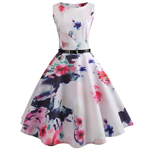 f Elegante Damen Mädchen Frauen Vintage Bodycon Sleeveless Beiläufige Abendgesellschaft Tanz Prom Swing Plissee Retro Kleider(Weiß 3, EU-36/CN-M) (Retro Tanz Kostüm)