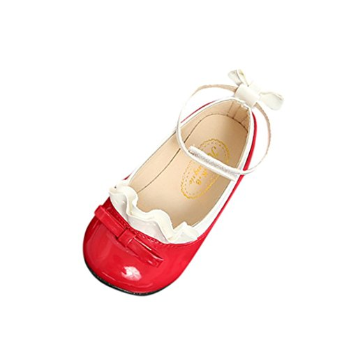 Mode Prinzessin Schuhe Kleinkind Kinder, DoraMe Baby Mädchen Sneaker Bogen Spitze Weichen Boden Tanzschuhe Einzelne Schuhe Lederschuhe für 2.5-8.5 Jahr (6-6.5 Jahr/Size(CN):30, Rot) (Kunstleder 6.5 Blau,)