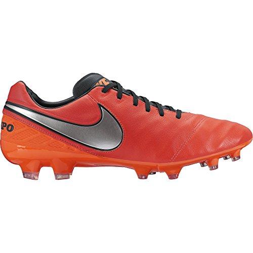 Nike Uomo Tiempo Legacy II FG scarpe da calcio Naranja / Plateado / Rojo (Lt Crmsn / Mtllc Slvr-Ttl Crmsn)