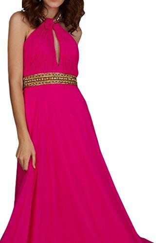 ivyd ressing Femme A ligne robe dos nu avec pierres mousseline Party Prom robe robe du soir - Fuchsia