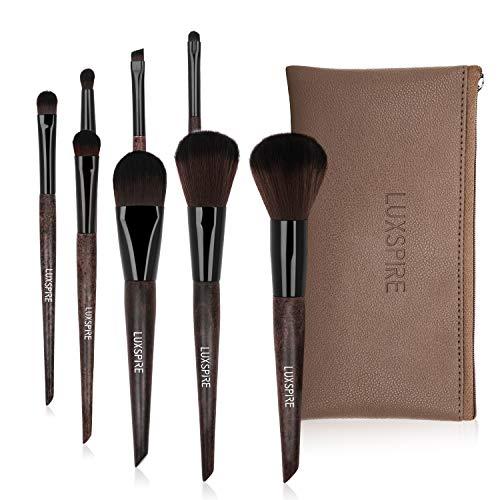 Luxspire 8PCS Professional Makeup Brush, Make up Brushes Set Schima Superba Handle Eyeshadow Brush Angled Brow Brush Cosmetic Brush Set Makeup Tool with PU Bag - Dark Brown -