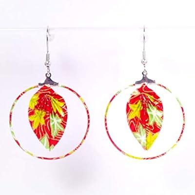 Boucles d'oreilles créoles feuilles origami rouges avec des feuilles jaunes et vertes - crochets inox