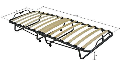 Letto brandina pieghevole salvaspazio 80x200 con materasso singolo da 12 cm con 15 doghe in - Letto pieghevole con materasso ...
