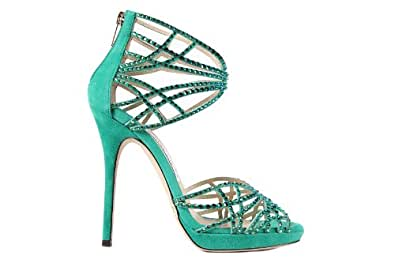 Jimmy Choo women's suede sandals with heel jade green UK size 7 123DIVASHX