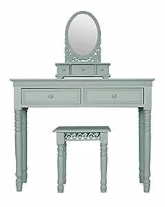 SYLVESTER Oxford Belgravia Coiffeuse, miroir et tabouret en bleu canard
