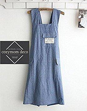 cozymom Chef Schürze Geschenk japanischen Stil, X Form Denim Smock Natürliche Baumwolle apron-blue Farbe (Baumwolle Natürliche Schürze)