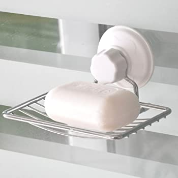 Stainless Steel Soap Dish Stand Holder with Wall Sucker Suntion Cup Holder New