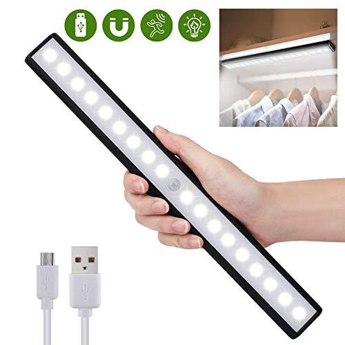 Sensor de movimiento de luz de gabinete para el armario, cajón, armario, sensor de movimiento inalámbrico de 18 bajo la iluminación del gabinete, USB recargable magnético stick-on Anywhere barra