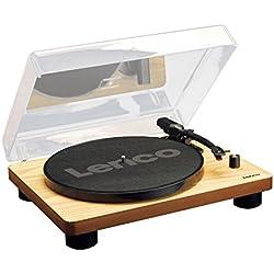 Lenco LS-50 wood - Tocadiscos (conexión USB, 3 velocidades, preamplificador estéreo integrado) madera