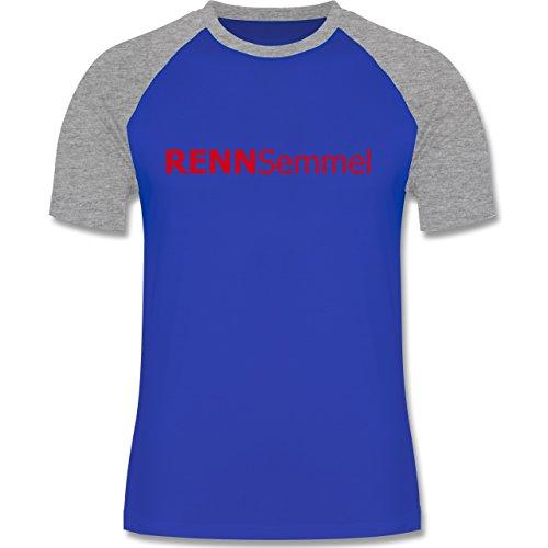 Laufsport - Rennsemmel - zweifarbiges Baseballshirt für Männer Royalblau/Grau meliert