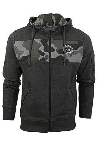 Crosshatch 'Camden' - Sweat avec capuche Homme Motif camouflage devant (Charcoal Marl) XL