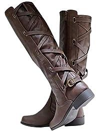1e5e291f15e152 Pxmoda Damen Kniehohe Stiefel Lace-Up Low Heel Winter Lederstiefel