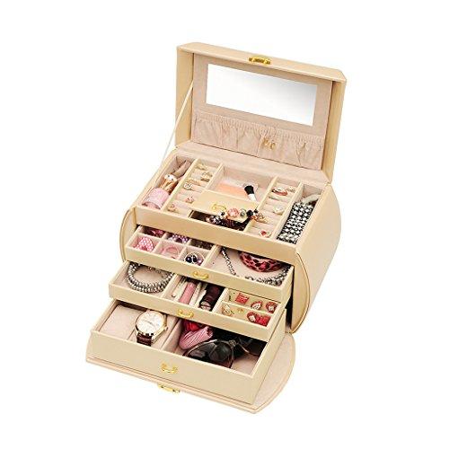 hen Muttertagsgeschenk Jewelry Box Mädchen Schmuck Organizer Gespiegelt Mini Travel Case Abschließbar Prinzessin Elegante Multifunktions 11 Zoll Aufbewahrungsbox Uhrenbox ()