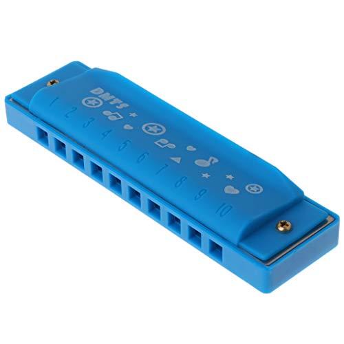 Plastik Blues Mundharmonika 10 Loch für Kinder Musikinstrumente Lernspielzeug blau