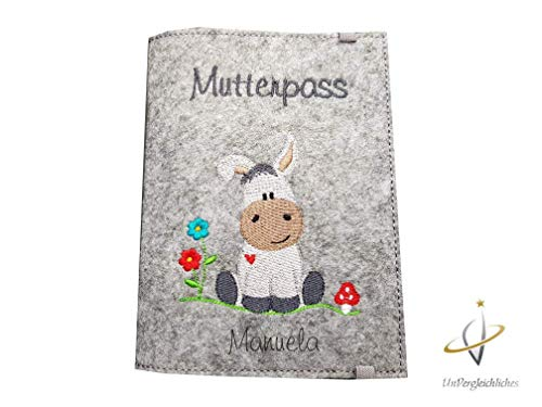personalisierte Mutterpasshülle aus Filz Esel