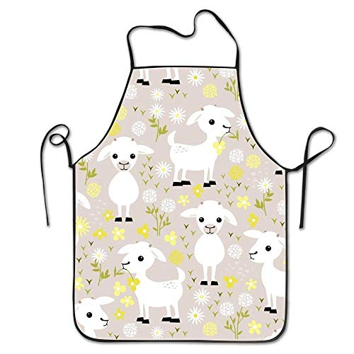 dfhdshsd Baby Goats Adjustable Kitchen Chef Apron with Pocket and Extra Long Ties,Commercial Men & Women Bib Apron for Cooking,Baking,Crafting,Gardening, BBQ -