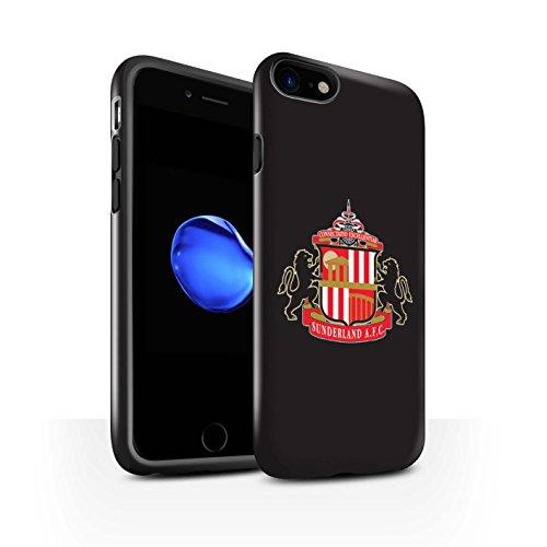 Offiziell Sunderland AFC Hülle / Glanz Harten Stoßfest Case für Apple iPhone 7 / Rot Muster / SAFC Fußball Crest Kollektion Schwarz