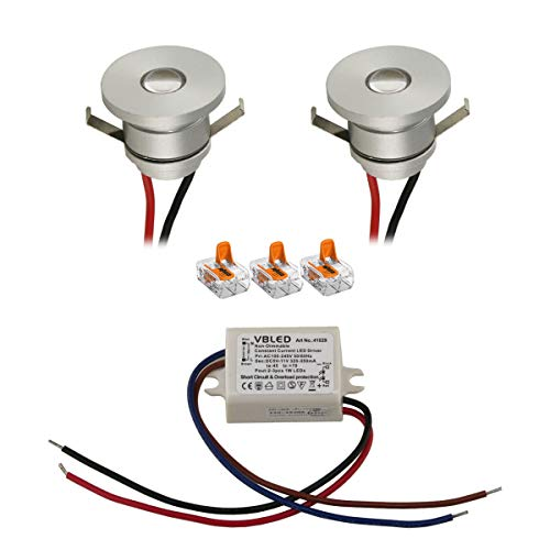 VBLED® LED Aluminium Mini Einbaustrahler IP44 wassergeschützt - 1W 350mA 80lm warmweiß (3000 K) (2er-Set)