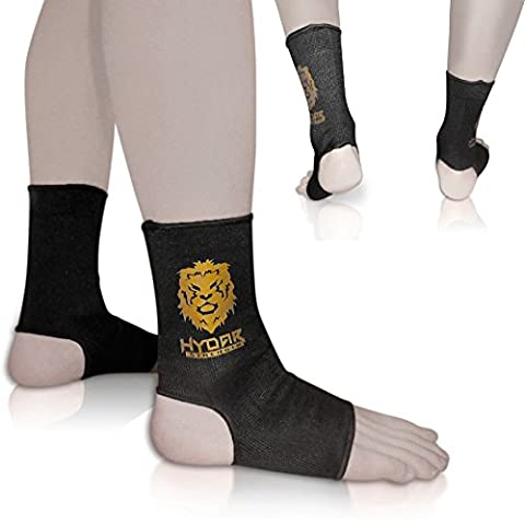 Premium Core Compression Ankle Sleeves – Comfortable Support for Sprained Ankles & Muscle Fatigue ★ LIFETIME GUARANTEE ★ Plantar Fasciitis Treatment - Joint, Arch & Heel Pain Relief - Hydar Fitness Range - Vital for Injury Prevention & Recovery - Unisex Mobility Brace for All Types of Athletes & Sports, Gym Workouts, & CrossFit - Foot Guard for MMA Training & Muay Thai Fight Gear – Can Be Worn with Shoes – Ideal for Athletic Men & Women - Sold As Pair