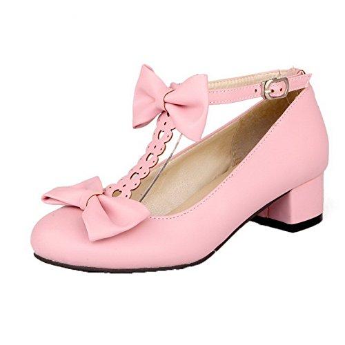 Femme Boucle Pu À Dorteil Chaussures Fermeture Bas Agoolar Cuir UqOxfnTw